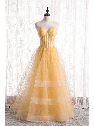 Yellow Mesh Tulle Ballgown Corset Prom Dress Strapless