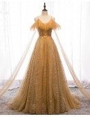 Bling Sequins Gold Formal Prom Dress with Straps Sweep Train