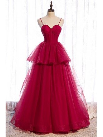 Burgundy Ruffled Tulle Ballgown Prom Dress with Straps Corset Top