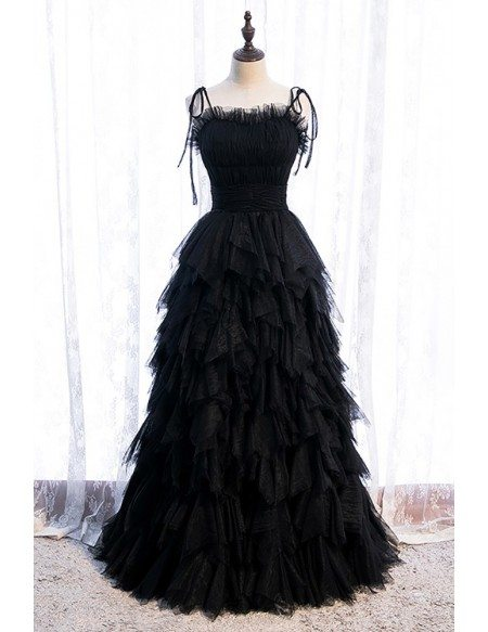 Black Tiered Ruffle Tulle Party Dress with Straps