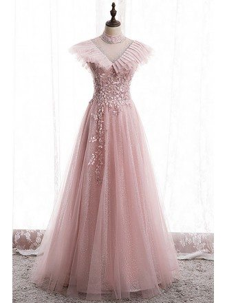 Bling Mesh Tulle Vneck Long Prom Dress with Petals Beadings