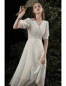 Retro Tea Length Chiffon Party Dress with Collar Bubble Sleeves
