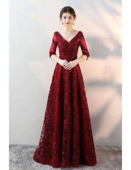 Burgundy Vneck Lace Long Evening Prom Dress with Sheer Half Sleeves