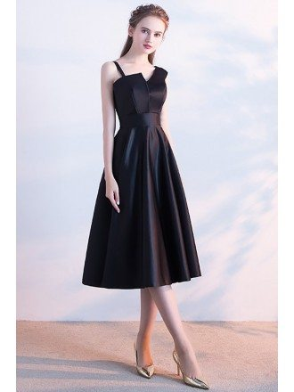 Simple Chic Tea Length Black Homecoming Party Dress with One Strap