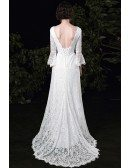 Classy Vneck Lace Simple Wedding Dress with Lace Bell Sleeves