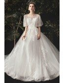 Illusion Round Neck Aline Wedding Dress with Appliques Bling