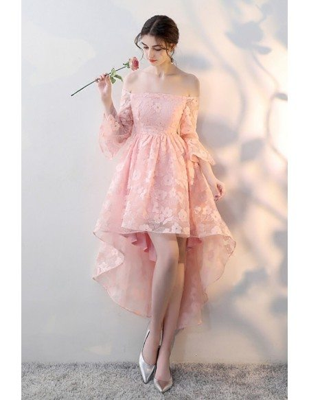 Gorgeous Pink High Low Homecoming Prom Dress with Flower Lace Off Shoulder