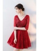 Gorgeous Vneck Burgundy Lace Short Homecoming Dress with Half Sleeves