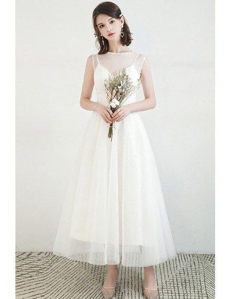 Elegant Tea Length Lace Tulle Wedding Dress Two-way Wearing
