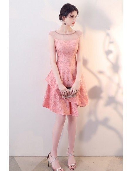 Lovely Pink Tiered Homecoming Party Dress with Sheer Neckline