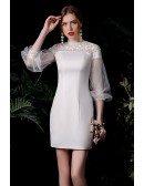 Elegant Satin Sheath Mini Wedding Reception Dress with Sleeves