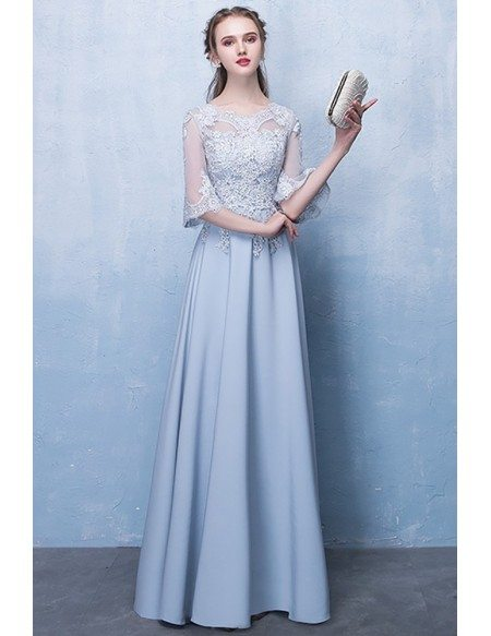 Slim Long Blue Aline Formal Party Dress with Appliques Sleeves