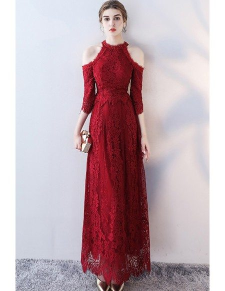 Elegant Long Lace Prom Party Dress with Cold Shoulder Sleeves