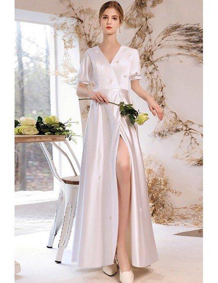 Vneck Short Sleeved Satin Wedding Reception Dress with Front Slit Beadings