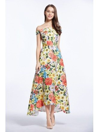 Chic Summer Off-the-Shoulder Printed Weddding Guest Dress