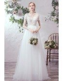 Flowy Tulle Vneck Lace Short Sleeved Aline Wedding Party Dress