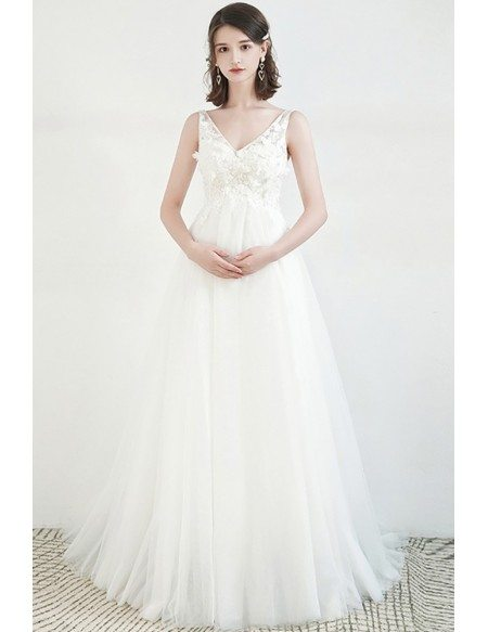 Vneck Simple Tulle Pregnant Wedding Dress Empire Flowy Tulle