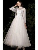 Sequined Tulle Long Wedding Dress Long Sleeved with Collar
