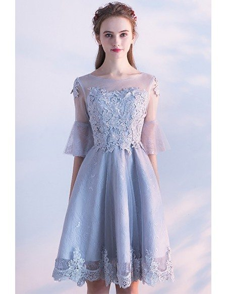 Modest Grey Lace Short Homecoming Party Dress with Sheer Sleeves