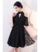 Little Black Lace Short Halter Homecoming Dress with Beadings