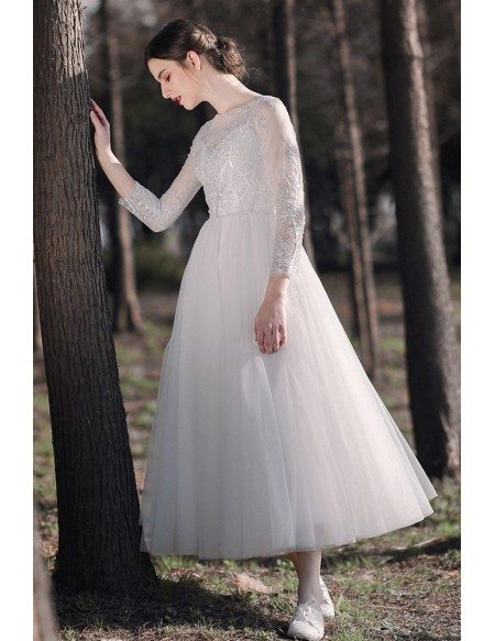 Tea Length Tulle Retro Wedding Dress with Sequined Lace Sleeves