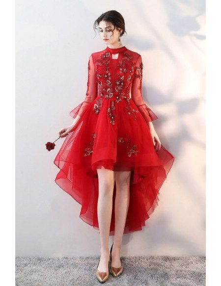 Red Tulle High Low Homecoming Prom Dress Beaded with Sheer Sleeves