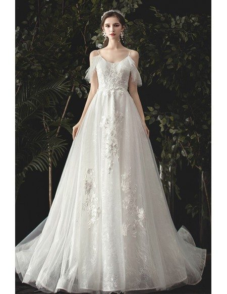 Beautiful Applique Lace Fairytale Wedding Dress with Spaghetti Straps
