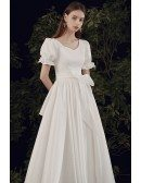 Modest Square Neck Long Wedding Dress Aline with Short Sleeves Bow Knots