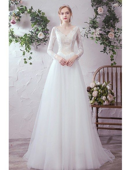 Vneck Long Sleeved Lace Long Tulle Wedding Dress with Laceup