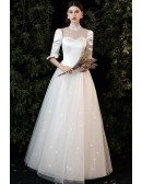 Classy Lace Collar Retro Wedding Dress Half Sleeved with Bling