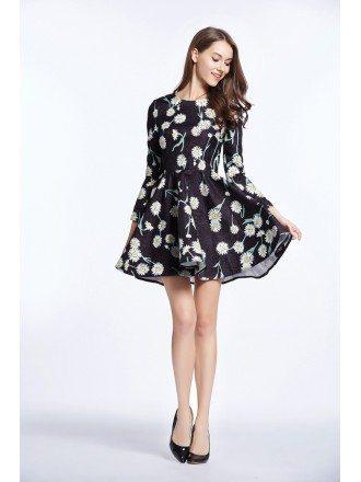 Lovely Summer Floral Print Mini Weddding Guest Dress