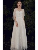Goddess Vneck Lace Empire Wedding Dress Bohemian with Puffy Sleeves