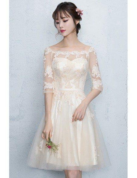 Champagne Lace Short Homecoming Party Dress with Appliques Half Sleeves