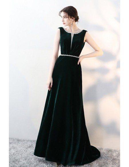 Formal Dark Green Velvet Evening Dress with Beaded Waist Neckline