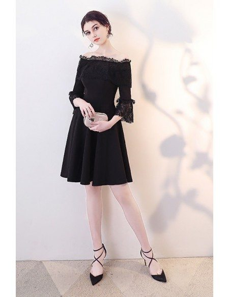 Little Black Aline Homecoming Dress with Lace Off Shoulder Sleeves