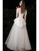 Retro Chic Satin with Tulle Wedding Dress with Ruffles Laceup