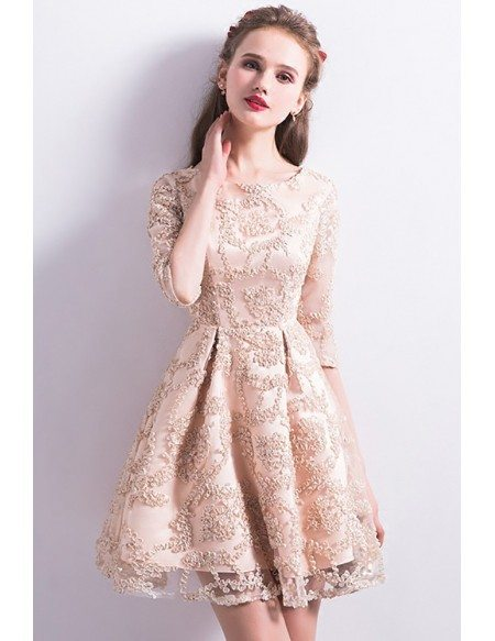 Modest Champagne Lace Short Homecoming Dress Round Neck with Sleeves