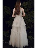 Cute Off Shoulder Empire Tulle Wedding Dress with Laceup