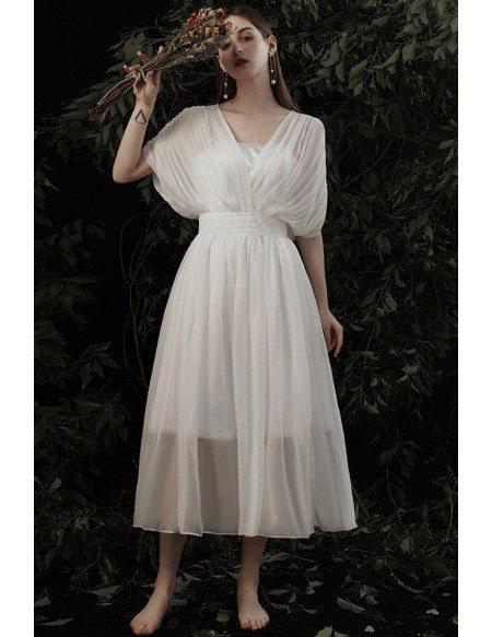 Bohemian Vneck Pleated Chiffon Wedding Party Dress with Dolman Sleeves