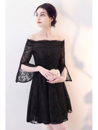 Little Black Lace Homecoming Dress with Off Shoulder Sleeves