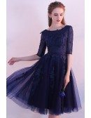 Navy Blue Tulle Homecoming Dress Knee Length with Half Sleeves