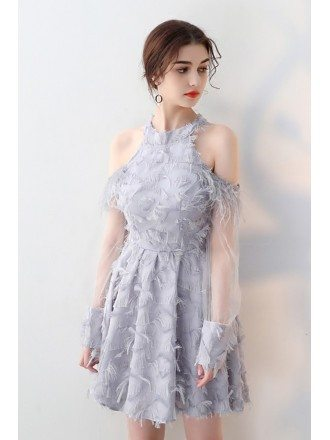 Lovely Grey Cold Shoulder Homecoming Dress with Sheer Long Sleeves