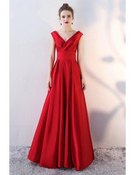 Simple Pleated Vneck Satin Evening Prom Dress Sleeveless