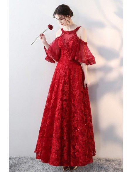Beautiful Red Flowers Aline Long Prom Dress with Beaded Cold Shoulder