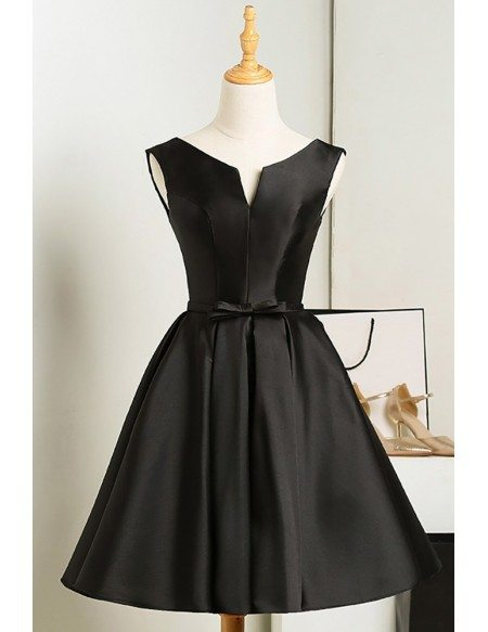 Simple Satin Little Black Homecoming Party Dress with Sash