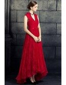 Chic Vneck Collar Lace Ankle Length Formal Dress Sleeveless with Beaded Vneck