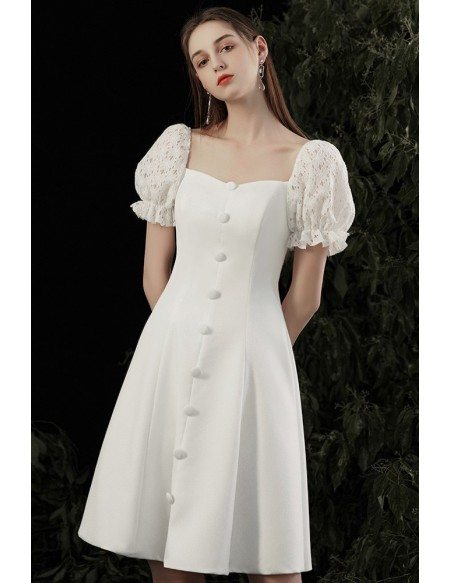 Cute Short White Homecoming Party Dress with Square Neck Bubble Sleeves