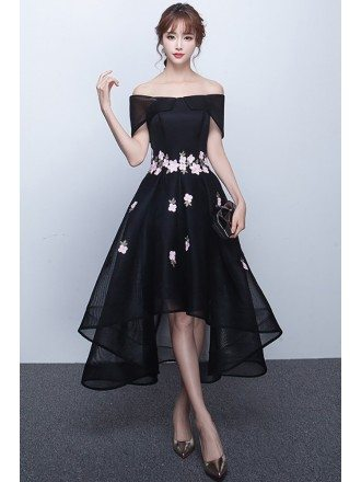 High Low Black Mesh Homecoming Prom Dress Off Shouler with Flowers
