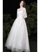 Modest Vneck Beaded Lace White Wedding Dress with Puffy Sleeves