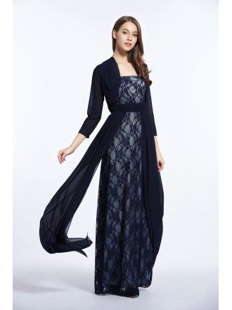 Elegant A-Line Strapless Lace Long Mother of the Bride Dress With Jacket